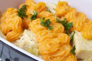 Tofu noripannetje met zoete aardappelpuree