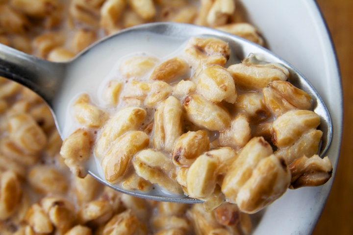 Zelfgemaakte notenmelk met kamut pops