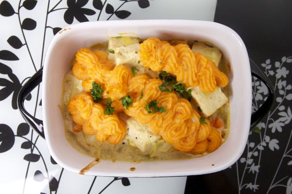 Ovenschotel met tofu, nori en zoete aardappelpuree